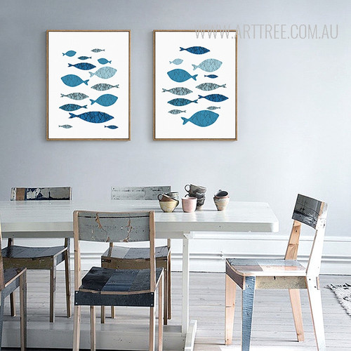 Minimalist Blue Fishes Shoal Nordic Canvas Prints