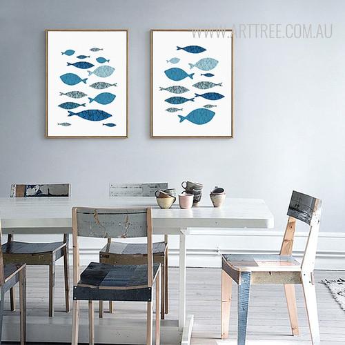 Minimalist Blue Fishes Shoal Nordic Canvas Prints