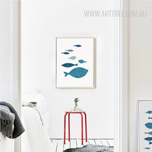 Minimalist Blue Fishes Shoal Nordic Canvas Print