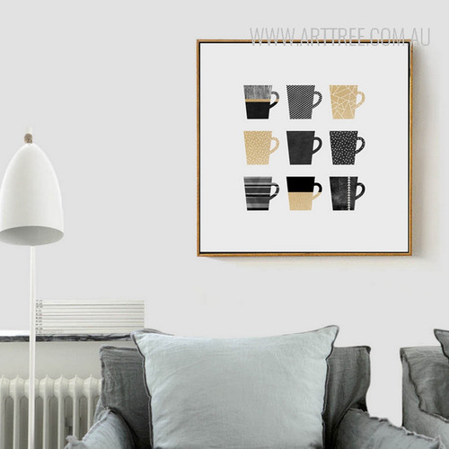 Watercolor Pattern Golden Black Mugs Canvas Print