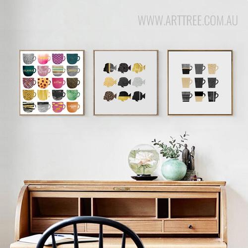 Abstract Multicolor FlatFish Shoal Coffee Mugs Cups Kitchen Decor Prints