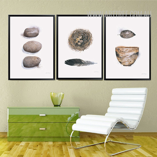 Abstract Beautiful Stone Feathers Nest Vintage Art Prints
