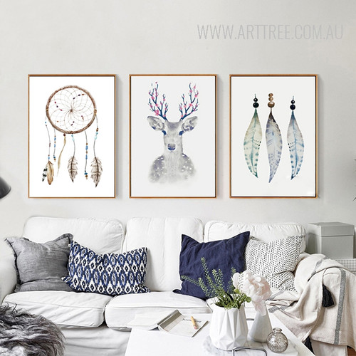 Retro Tribal Feathers Deer Vintage Poster Prints