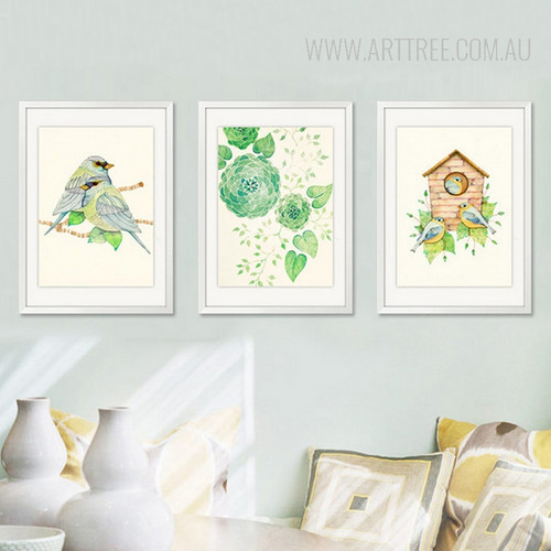 Abstract Geometric Green Flowers Leaves Wall Art Birds