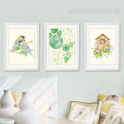 Abstract Geometric Green Flowers Leaves Wall Art Birds