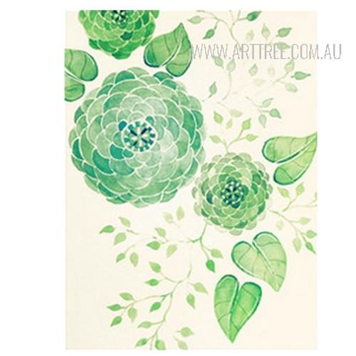 Abstract Geometric Green Flowers Botanical Print