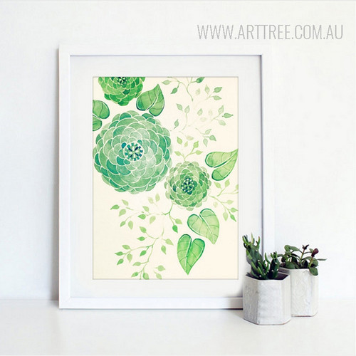 Abstract Geometric Green Flowers Botanical Art