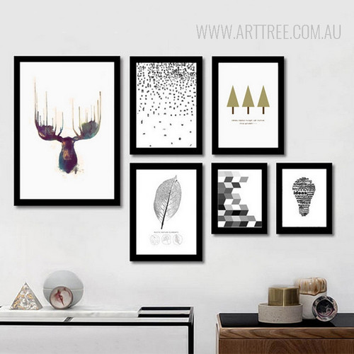 Abstract Deer Leaf Idea Bulb Tree Large Canvas Prints