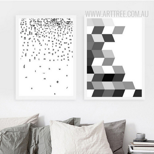 Floating Alphabets Abstract Black and White Prints