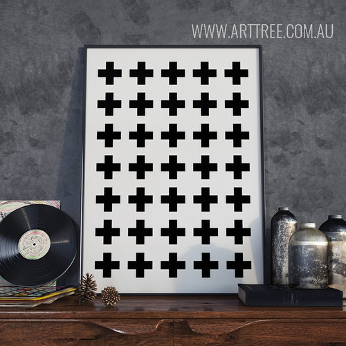 Minimalist Abstract Cross Pattern Nordic Scandinavian Art