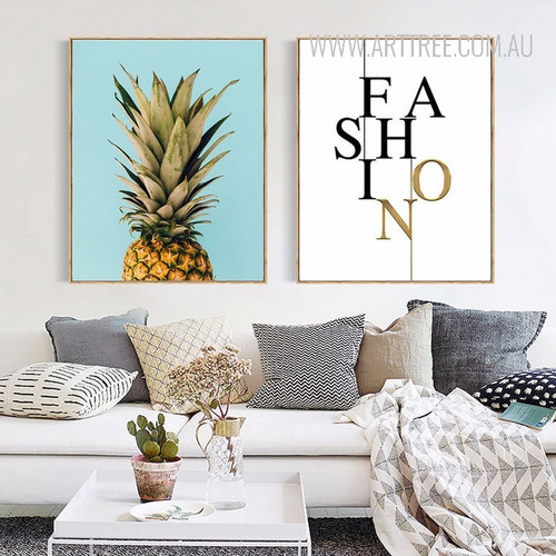 Modern Fashion Letters Pineapple Fruit Wall Art Prints