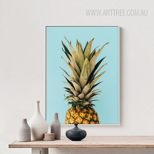 Golden Green Pineapple Fruit Wall Art