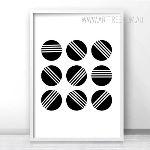 Abstract Minimalist Black and White Balls Art