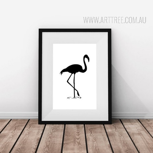 Abstract Minimalist Black and White Flamingo Bird Print