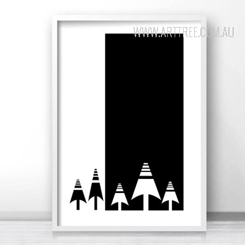 Abstract Minimalist Black and White Christmas Tree Print
