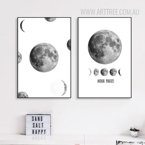 Minimalist Moon Phases Black and White Art