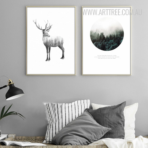 Wild Deer Deep Forest Design Canvas Prints