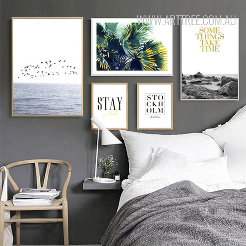 Some Things Take Time Stay Stockholm Flying Birds Over Sea Plants Large Wall Art