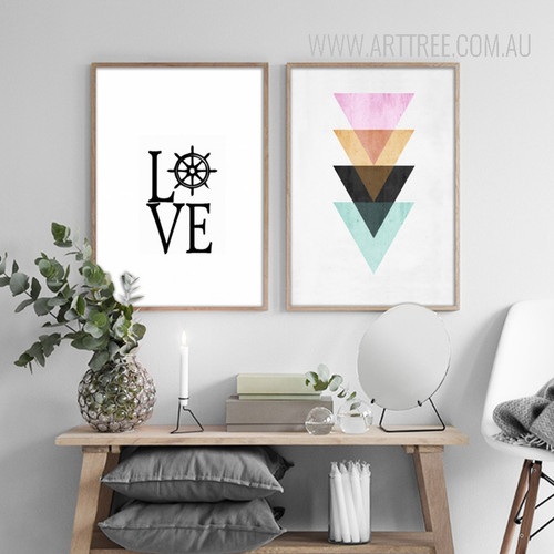 Abstract Geometric Pattern Colorful Triangles Love Words Housewarming Prints