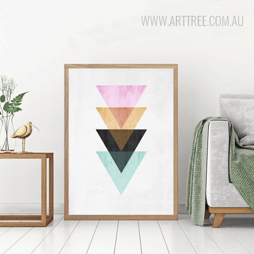 Abstract Geometric Pattern Multicolor Triangles Design Housewarming Art