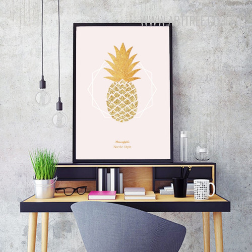 Abstract Nordic Style Yellow Golden Pineapple Canvas Wall Art