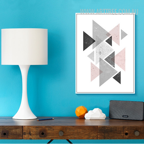 Creative Pink Grey Abstract Geometric Triangles Nordic Canvas Wall Art