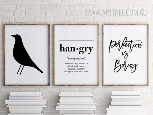 Hangry Letters Black Crow Perfection is Boring Black and White Wall Prints