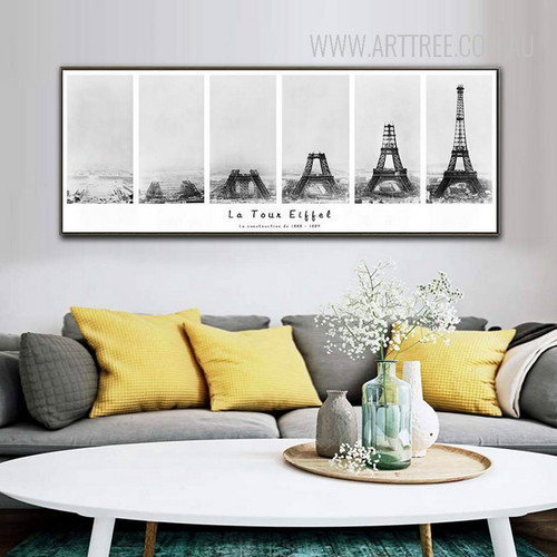 Black and White Creative La Tour Eiffel Tower Panoramic Canvas Print