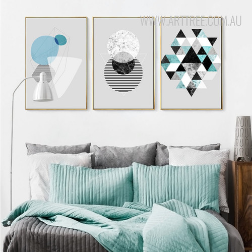 Abstract Geometric Pattern Triangles Circle Modern Canvas Wall Art