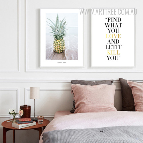 Find What You Love and Let It Kill You Words Pineapple Fruit Canvas Wall Art