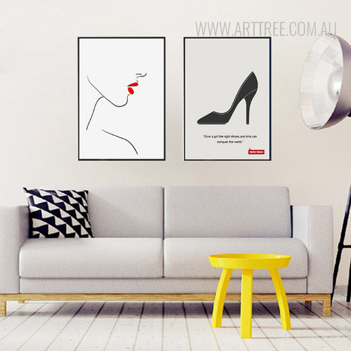 Minimalist Fashion Red Lips Face Right Shoes Quote Wall Art Set