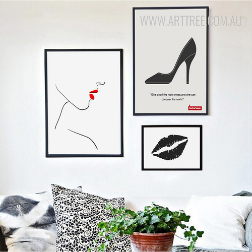 Minimalist Fashion Red Lips Face Black Kiss Right Shoes Quote Wall Art Set