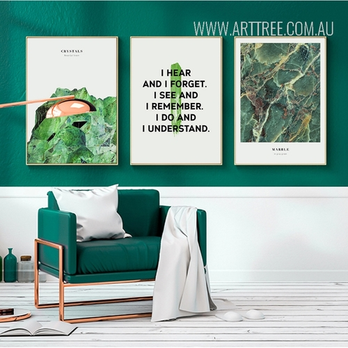 Abstract Watercolor Green Crystals Marble Love Quote Digital Prints