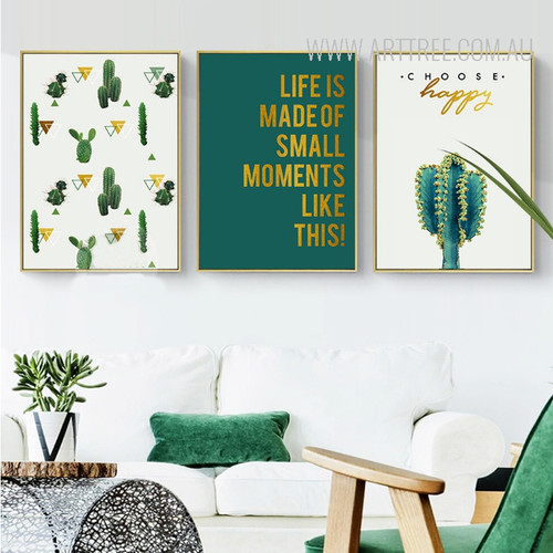 Choose Happy Life is Made Of Small Things Modern Geometric Cactus Quotes Prints