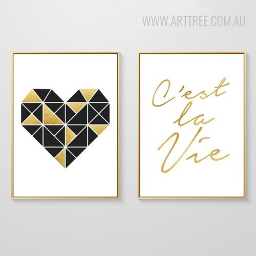 Geometric Brown Heart Cestla Vie Golden Words Canvas Prints