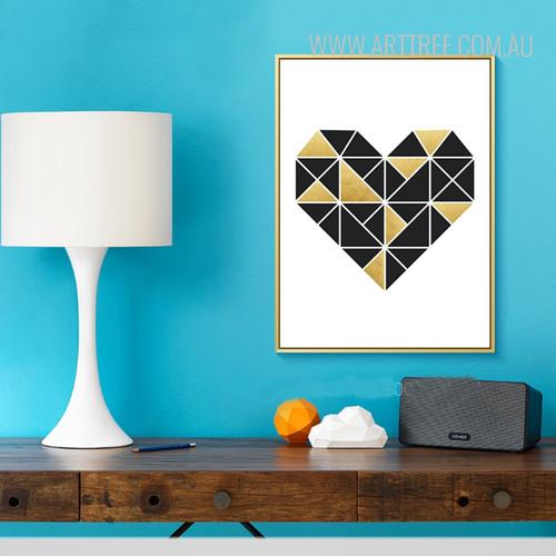 Geometric Brown Heart Wall Art Print