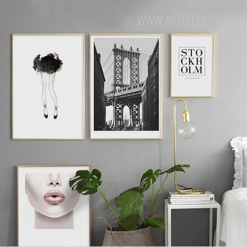 Black Legs Manhatten Bridge Stock Holm Pink Lips Girl Wall Art Set