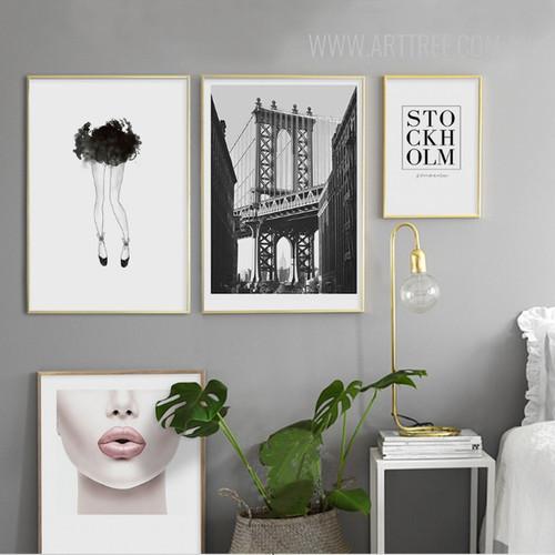 Black Legs Manhatten Bridge Stock Holm Pink Lips Girl Wall Art Set