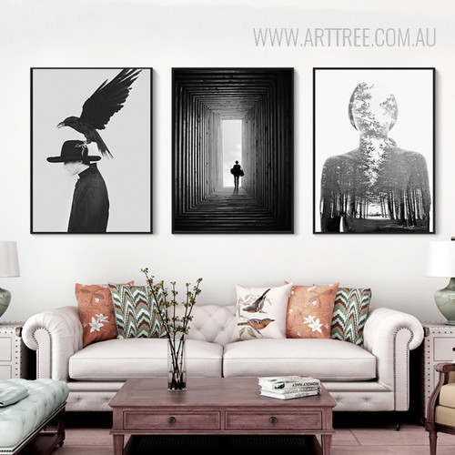 Bird on Hat Scary Human Forest Walking Man Black and White Canvas Prints