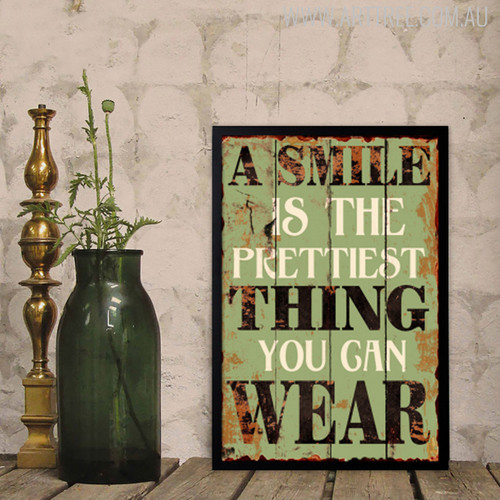 A Smile is The Prettiest Thing You Can Wear Motivational Quote Digital Wall Print
