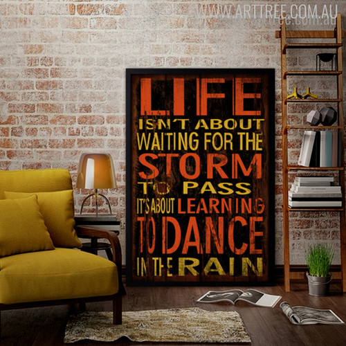 Life Isn't About Waiting For the Storm to Pass Rain Motivational Quote Canvas Print