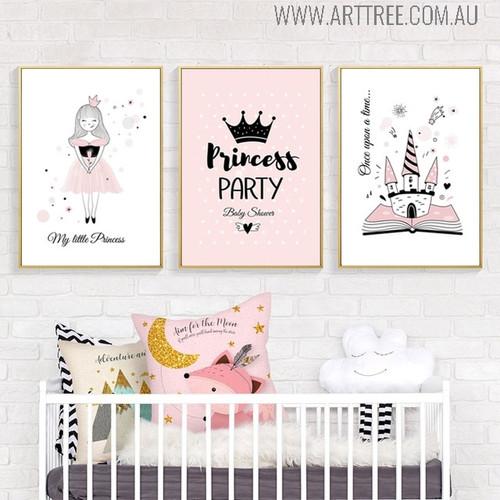 Princess Party Quotes Modern Cartoon Wall Decor