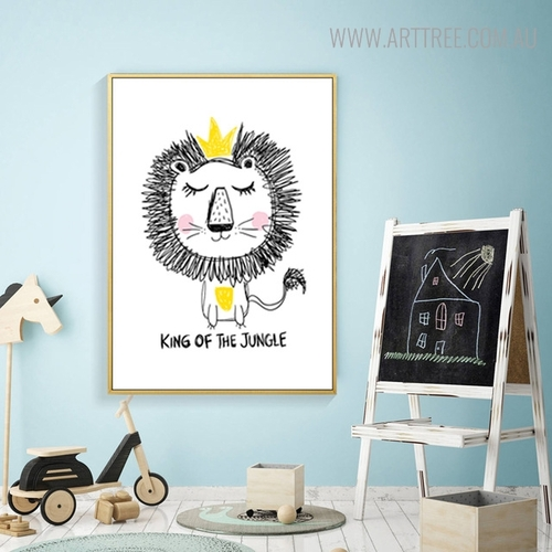 King Lion Quotes Animated Animal Painting Print for Living Room Wall Decor