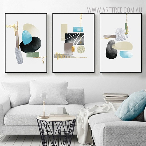 Colorful Stones Abstract Geometric Painting Print