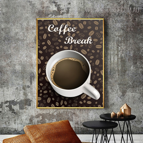 Coffee Break Inspirational Quotes Vintage Painting Print for Living Room Decor