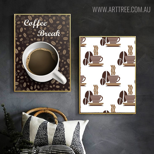 Coffee Pattern Design Vintage Quotes Painting Print for Living Room Decor