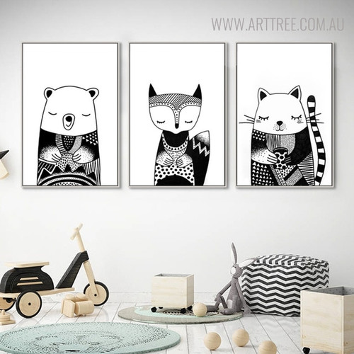 Sleeping Animals Animated Painting Print for Kids Wall Decor