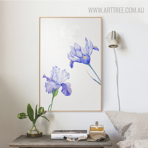 Purple Iris Floral Painting Print for Living Room Decor