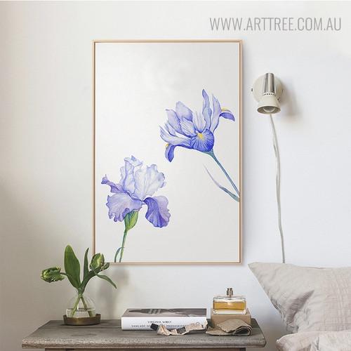Purple Iris Floral Painting Print for Living Room Decor