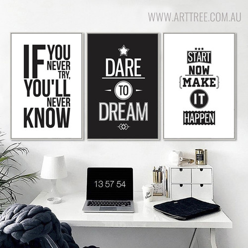 Dare to Dream Inspirational Quotes Painting Print for Room Decor